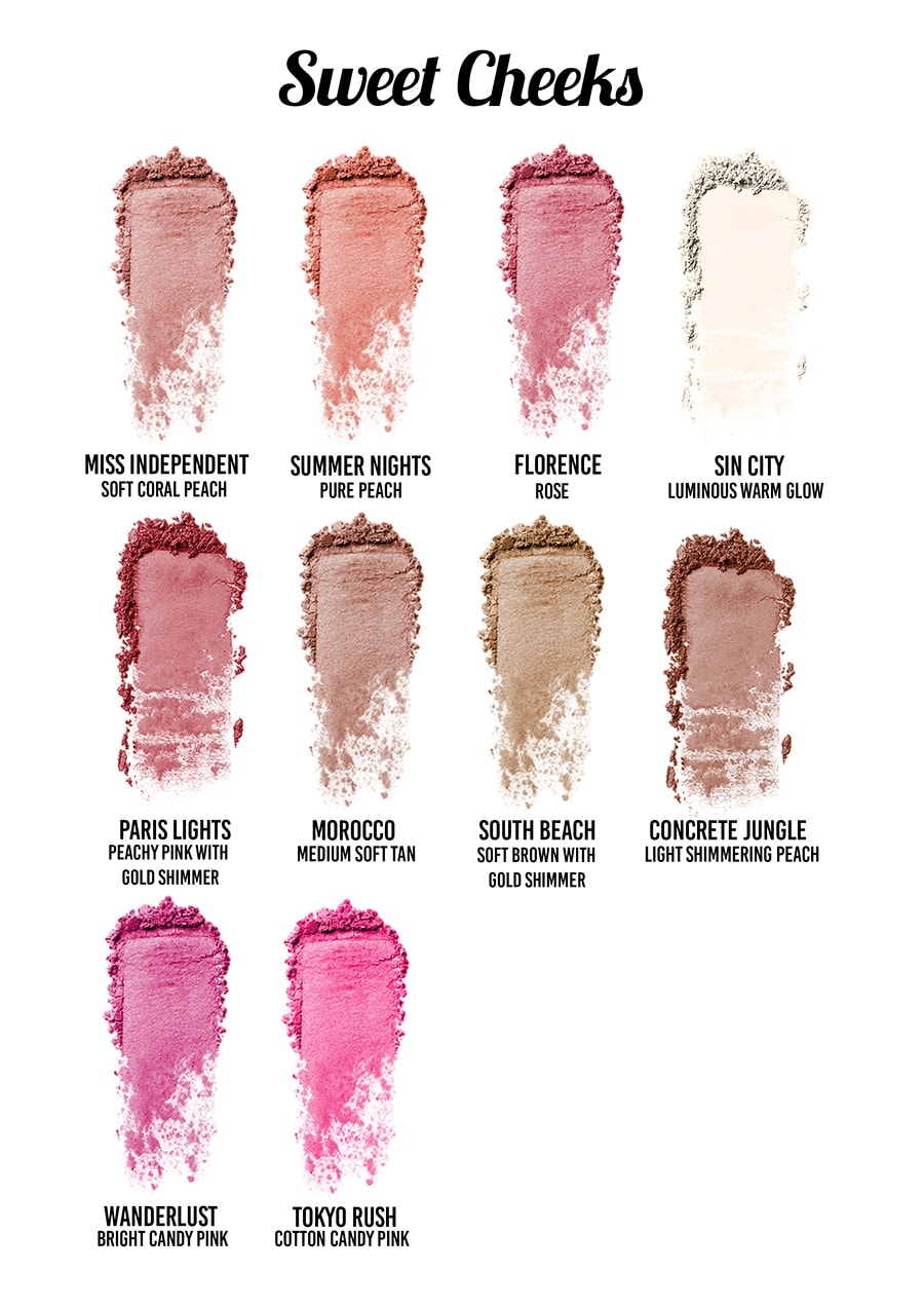 Pink Sugar Cosmetics - Sweet Cheeks HD Cheek Color Swatches
