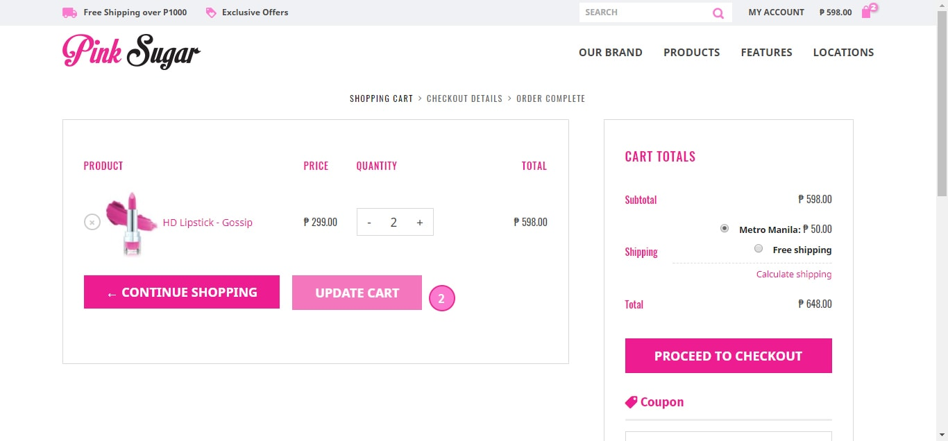 How to Update Products on Cart 2